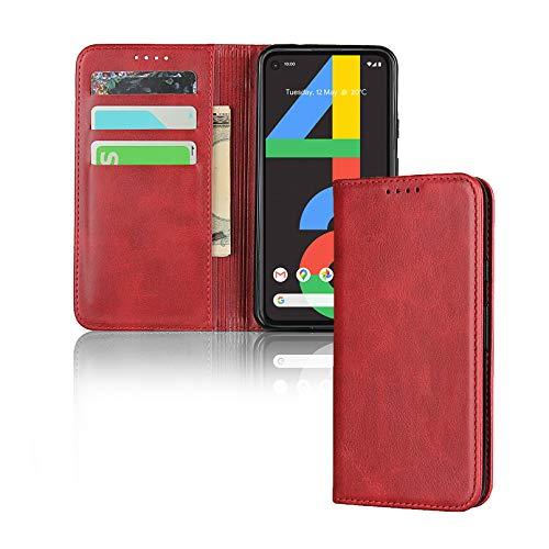Zouzt Vagen Leder Folio Flip Wallet Hülle Kompatibel mitGoogle Pixel 4A 4G mit Magnetverschluss/Ständerfunktion/Kartensteckplätzen (rot)
