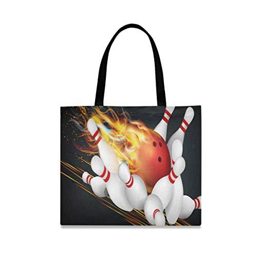 ALARGE Buring Sport Bowling Ball Canvas Tote Bag Large Casual Schule Shopping Schulter Lebensmittel Tasche Handtasche mit langen Griffen für Frauen Mädchen