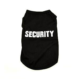 T-Shirt Security, noir sans manches, en coton