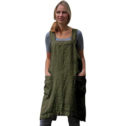 IZHH Damen Frauen Kleider Baumwolle Leinen Pinafore Square Cross Schürze Gartentasche Arbeit Pinafore Kleid Einfarbig Arbeitskleidung Kleid(Armeegrün,Large)