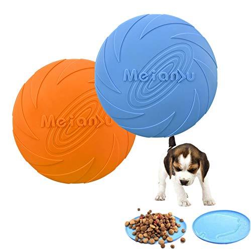 Hund Frisbee, Hundescheibe, Gummi Frisbee, Zwei Hundespielzeug Frisbees, Interaktives Gummispielzeug für Haustiertraining, Land und Wasser, Hundetraining, Werfen, Fangen und Wettkampf (S)