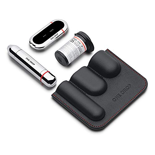 One Drop for Diabetes Health Kit with Bluetooth-Enabled Glucose Meter, Adjustable Lancing Device, Lancets, Test Strips, and Vegan Leather Carry Case