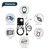 ELKO Dial Type Aneroid Sphygmomanometer/Blood Pressure Monitor with Carry Bag and Basic Stethoscope (Black)