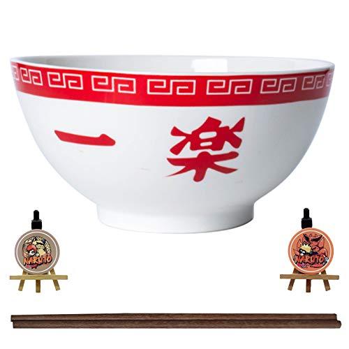 LVMMO Naruto Ramen Schissel Bowl Essen Set (16,5 cm) mit Holzstabchen Stäbchen und Untersetzer Porzellan Ramen Suppenschüssel Set für Udon Nudeln Pho Soba Getreidesalat Kinder Geschenk,E