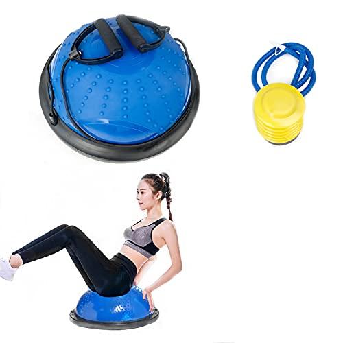 YTK Pelota de equilibrio con correa, pelota de equilibrio y bomba de pie, antideslizante, para entrenamiento en casa, fitness, entrenamiento de fuerza, gimnasio, entrenamiento de estabilidad (46 cm)