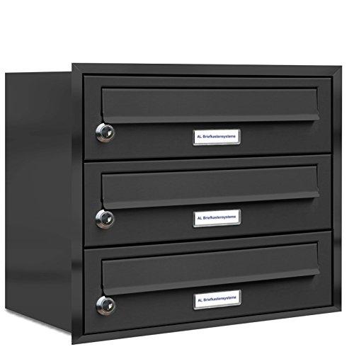 AL Briefkastensysteme, 3er Unterputzbriefkasten in Anthrazit Grau RAL 7016, 3 Fach wetterfeste Briefkastenanlage Design modern