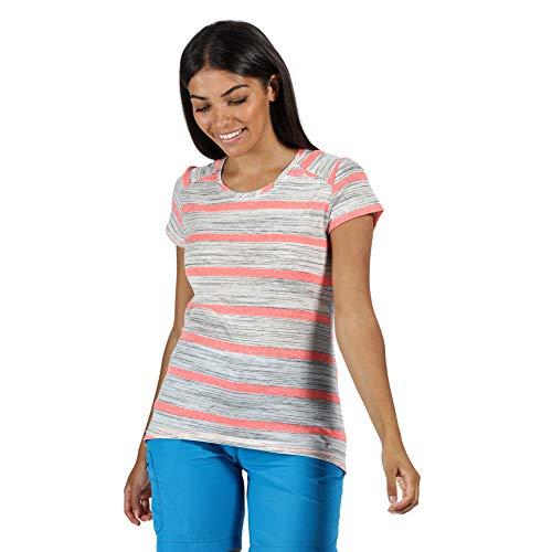 Regatta T- Shirt Technique rayé Manches Courtes Limonite IV léger et Respirant Polos/Vests Femme, Neon Pink, FR : XXS (Taille Fabricant : 8)