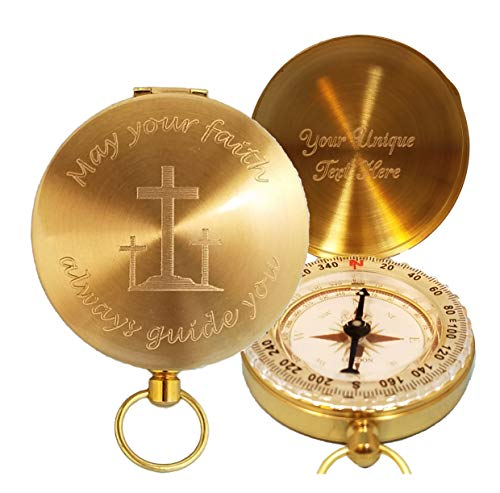 "Stanley London Taschen-Kompass, mit Gravur May Your Faith Always Guide You, Messing, personalisierbar, Messing, 1 15/16"" (5 cm)"