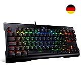 Redragon K561-RGB-DE VISNU 87 Tasten Mechanische Gaming Tastatur LED Beleuchtete Tastatur mit Clicky Blauen Schaltern für PC Gamer und Schreibkraft (Deutsches Tastaturlayout)