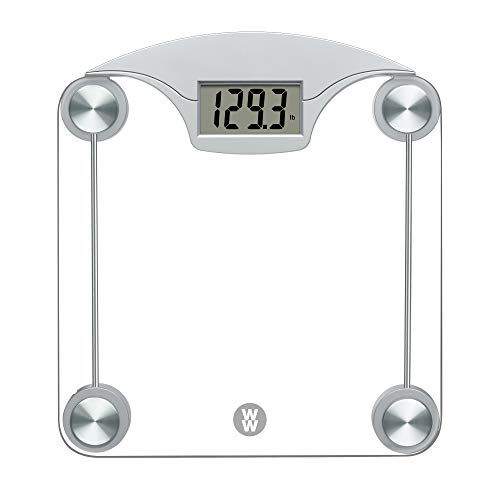 WW Scales by Conair Digital Glass Weight Scale with Contemporary Silver Finish Bathroom Scale, 400 Lbs. Capacity