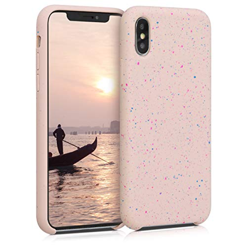 kwmobile TPU Silicone Case Compatible with Apple iPhone X - Flexible Cover with Camera Protection - Paint Splatter Dark Pink/Blue/Dusty Pink