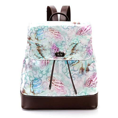 Lässiger PU-Leder-Rucksack für Männer, Frauen, Schultertasche, Studenten, Tagesrucksack für Reisen, Business, Uni, Sealife Swatch