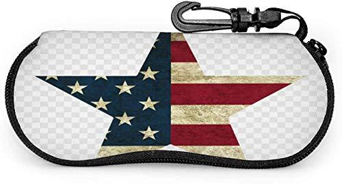 Funda para gafas Texas Star Us Vintage Flag Spectacle Case Box Resistente a los arañazos portátil Viaje Gafas de sol Clamshell Ligero Protector Shell Holder con gancho Clip para Unisex