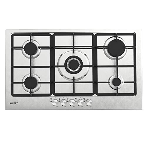 Gas Cooktop, KUPPET 20x34 inches Built in Gas Cooktop, 5 Burners Gas Stove Cooktop, Stainless Steel Cooktop Gas Hob, ETL Safety Certified, Thermocouple Protection
