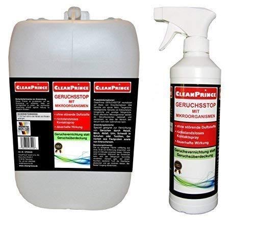 2,5 Liter Kanister GERUCHSSTOP MIT MIKROORGANISMEN von CleanPrince. Sie erhalten 2 Liter im Nachfüllkanister und 500 ml in der Sprühflasche. Speziell geeignet zur Vernichtung von Gerüchen durch Heizöl, Milch, Abfall, Urin, Schweiß in Schuhen oder Textilien, Gerüchen aus Faulgruben sowie von Erbrochenem. CleanPrince GERUCHSSTOP neutralisiert auf Basis von Enzymkomplexen üble Gerüche von saurer Milch, Tiergerüche, Heizölgerüche, Gerüche von Erbrochenem, Uringerüche und sonstige Störgerüche. Durch pflanzliche Mikroorganismen werden die Geruchsursachen bekämpft und neutralisiert, so dass der Mensch den Geruch nicht mehr wahrnehmen kann. Schlagworte: Geruchskiller Geruchsabsorber Geruchsbeseitigung Gerüche Geruchsneutralisator Geruchsneutralisation Geruchsentferner Geruchentferner GERUCHSSTOP MIT MIKROORGANISMEN Geruchsstopp Geruchstop Geruchstopp Geruch-Stop