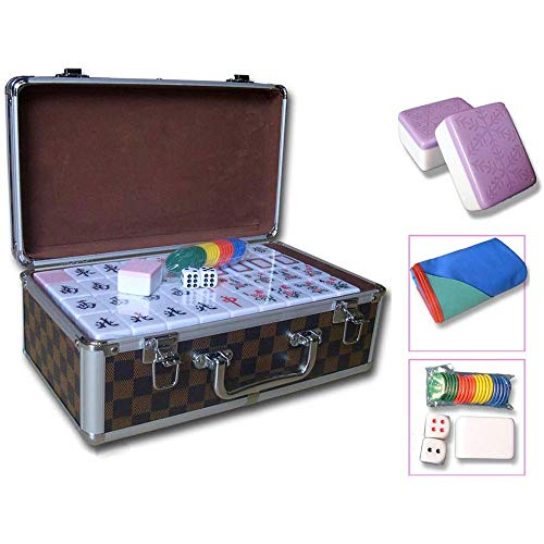 ZOUJUN Fliesen Mahjong Set Mahjong Verein Set Tragbarer Mahjong Brettspiele mit Deluxe Retro Style Box for Zuhause-Party Mehrere Farboptionen 144PCS (Color : Purple, Size : XXL)