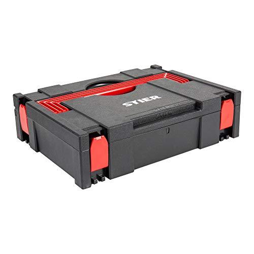 STIER Systainer, Classic BLACK-Edition, T-Loc, problemlose Stapelung, ABS-Kunststoff, für große Gegenstände geeignet, Sortierbox, Werkzeugaufbewahrung