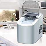 Covan_CN Máquina automática para fabricar Hielo, Mini máquina eléctrica de Cubitos de Hielo, Máquina de Cubos de Hielo de Balas Redondas portátiles para pequeñas cafeterías 15kgs / 24H,Silvergrey