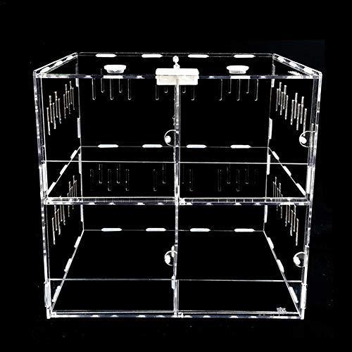 Clear Reptile Breeding Box,Small Acrylic Terrarium Full View Visually with Sliding Design Feeding Box for Reptile(4 Warehouse)