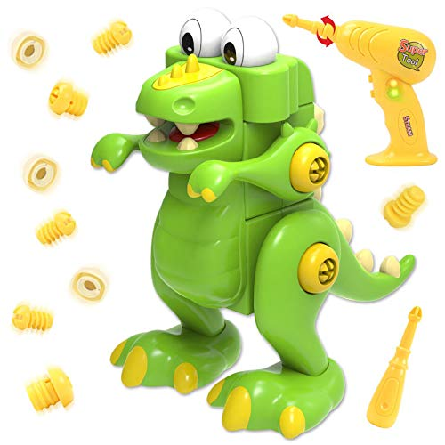GILOBABY Take Apart Dinosaur Toys for Kid, Educational Assemble Build Your Own Dinosaur Toy, Construction Dinosaur STEM Toy for Boy Girl, Toys Gifts for 3 year old& Up Children, 2 Drills Tool Toys