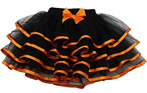 Tortoise & Rabbit Little Girls and Big Girls Tulle Tutu Skirt (2T-3T, Black+Orange)
