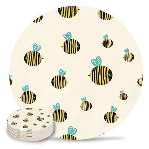 Posavasos de cerámica, colorido, diseño de libélula de acuarela con piedra absorbente de cerámica con parte trasera de corcho para tipos de tazas y tazas, posavasos de mesa redonda de fondo blanco (juego de 4/6/8), cerámica, Bee3452, 4-Piece Set