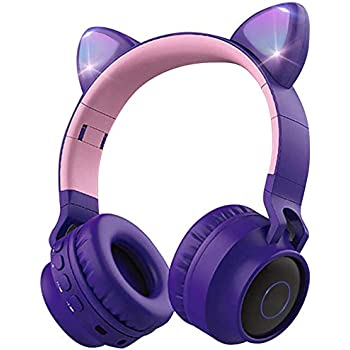 Amazon Com Wireless Bluetooth Kids Headphones Aresrora Cat Ears Bluetooth Over Ear Headphones Volume Limiting Led Lights Fm Radio Tf Card Aux Mic For Iphone Ipad Kindle Laptop Pc Tv Purple Home Audio Theater