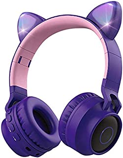 Wireless Bluetooth Kids Headphones, Aresrora Cat Ears Bluetooth Over Ear Headphones Volume Limiting,LED Lights, FM Radio, TF Card, Aux, Mic for iPhone/iPad/Kindle/Laptop/PC/TV (Purple)