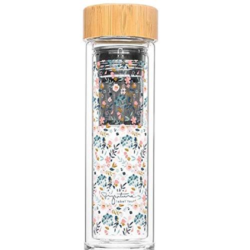 Label Tour Tee- oder Fruchtflasche, 400 ml, Liberty (LTINF43), Bambuskorken, 100 % BPA-frei (Bisphemol) – H 24,5 cm, Durchmesser 7 cm