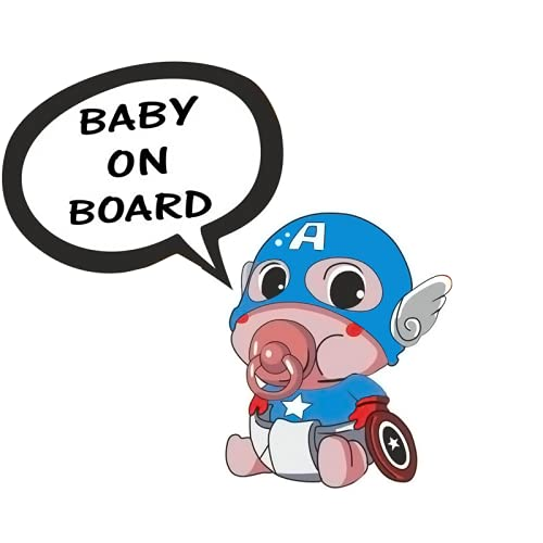 BLKUOPAR Calcomanías de vinilo para coche de superhéroe, diseño de Capitán América de bebé a bordo, de 5 pulgadas