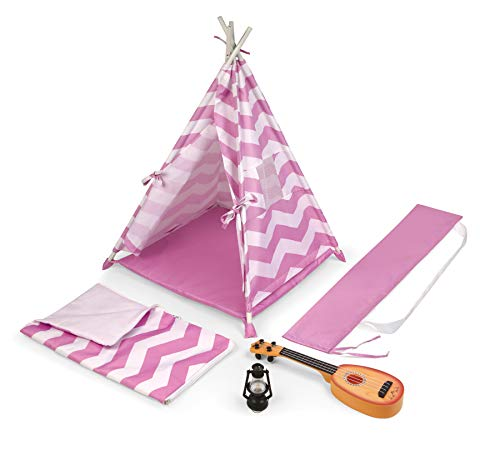 Badger Basket Camping Adventures Doll Tent Set with Accessories for 18 inch Dolls - Lavender/White (12028)