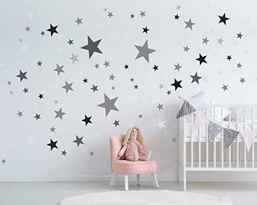 25 Sterne Wandtattoo fürs Kinderzimmer - Wandsticker Set - Pastell Farben, Baby Sternenhimmel zum Kleben Wandaufkleber Sticker Wanddeko - Kleinkinder, Erstausstattung auf Rauhfaser, Grau - Schwarz