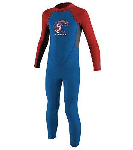 O'Neill Toddler Reactor-2 2mm Back Zip Full Wetsuit, Ocean/Graphite/Red, 3