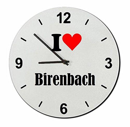 Druckerlebnis24 Glasuhr I Love Birenbach eine tolle Geschenkidee die von Herzen kommt  Wanduhr  Geschenktipp: Weihnachten Jahrestag Geburtstag Lieblingsmensch