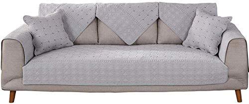 Hoekbank, hoes, couchovertrek, cover sofa-overtrek van katoen, omkeerbaar gewatteerde sofagarnituur, sofaovertrekken voor woonkamer, sofa 70*150cm lichtgrijs