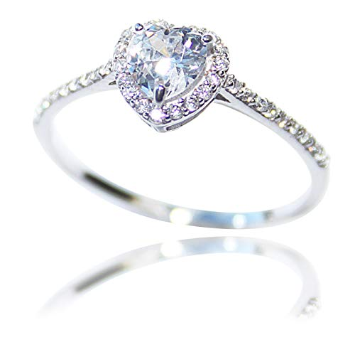 Ah! Jewellery Women's Dainty Sparkling 5mm Heart Shaped Simulated Diamond Ring. Sterling Silver, Stamped 925. 1.2GR Total Weight (K)