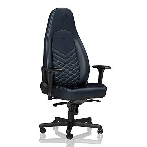 noblechairs ICON Gaming Stuhl - Bürostuhl - Schreibtischstuhl - Echtleder - Inklusive Kissen - Mitternachtsblau/Graphit