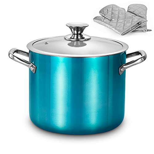 LovoIn Nonstick Stock Pot 7 Qt Soup Pasta Pot with Lid, 7-Quart Multi Stockpot Oven Safe Cooking Pot for Stew, Sauce & Reheat Food, Induction/ Oven/ Gas/ Stovetops Compatible for Family Meals