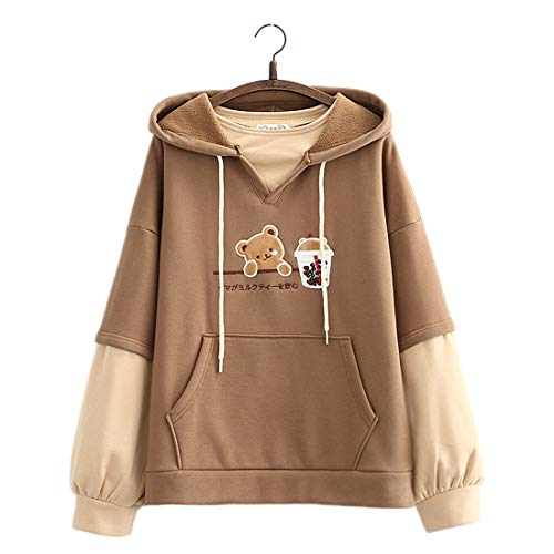 Kawaii Hoodie Sweatshirt Teen Girls Cute Bear Milk Tea Patch Stickerei Pullover Hooded Tops Fake Zweiteilige Plus Samt Lose Hoodies Gr. One size, braun