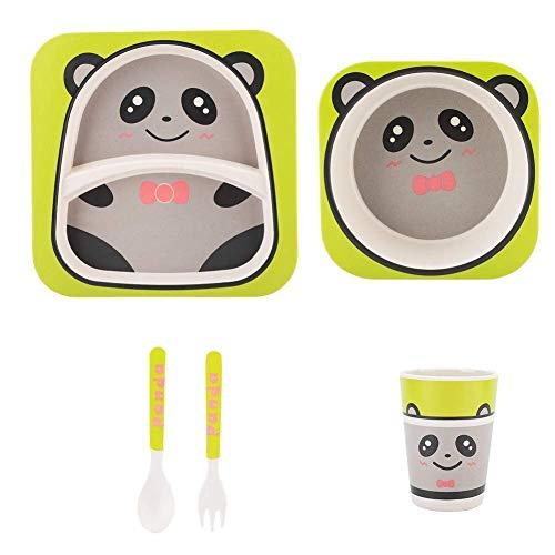 5pcs Kids Bamboevezel Servies Set for babyvoeding, Animal Cartoon Kinderen tafelgerei Plate Bowl vork lepel Cup (Kleur: # 2) (Color : #1)