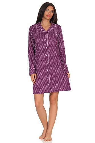 NORMANN Wasmachine, nachthemd voor dames, klassiek met reverkraag & knoopsluiting - ook geschikt voor borstvoeding