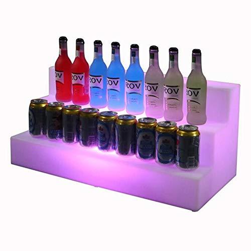 WJQQ 3 Tier LED Acryl Glühen Weinregal, Flaschenanzeige-Regale mit Fernbedienung für Brithday Hochzeit Weihnachtsfeier Club Bars, 66 * 30 * 30 cm