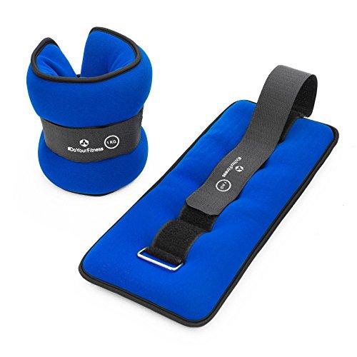 #DoYourFitness® Handgewichte & Fußgewichte (0,5kg 1kg 1,5kg 2kg 3kg) - Gewichtsmanschetten mit weicher Oberfläche & gutem Knöchelgewichte für Hand- & Fußgelenke 1,5kg / blau&schwarz