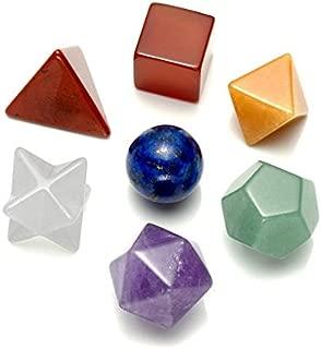 MANIFO 7 Chakra Crystal Platonic Solids Sacred Geometry Set Nautral Gemstones Kit with Merkaba StarFor Chakra Reiki Healing Energy,Yoga Meditation,Wicca,Therapy (7 Chakra)