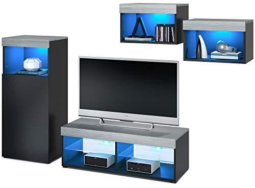 Vladon Wohnwand Pure, modernes Wohnzimmer Möbel Set, Korpus in Schwarz matt/Oberböden und Blenden in Avola Anthrazit, mit RGB LED Beleuchtung | Große Farbauswahl