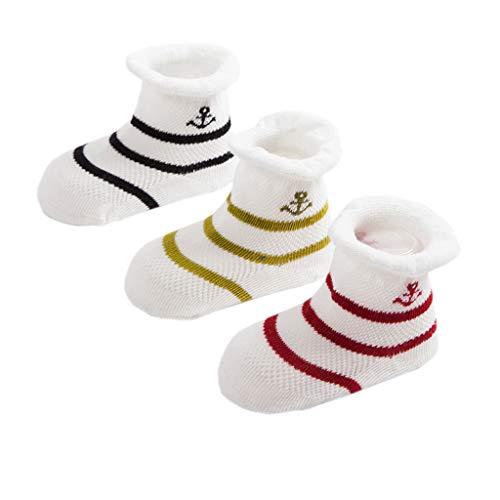 PROTAURI 3 pares de calcetines para bebés, calcetines caseros transpirables de verano antideslizantes para niños pequeños, 6-12 años