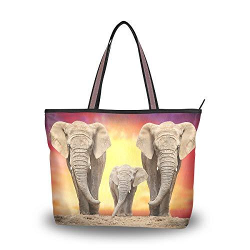Emoya Damen-Handtasche, afrikanischer Elefant, oberer Griff, lässige Tragetasche, Schultertasche, Arbeit, Freizeit, Größe L, Mehrfarbig - multi - Größe: Large