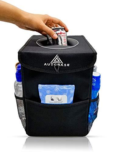 Papelera para auto con tapa y bolsillos de almacenamiento | Bolsa de basura y organizador para automóviles | Accesorio interior para coches, SUV, furgonetas y camiones