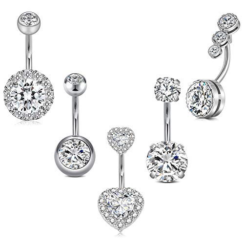 Incaton 14G Stainless Steel Belly Button Rings Navel Rings Round/Love Heart Clear CZ Curved Barbell Piercing For Women Silver Rose Gold Rainbow Set