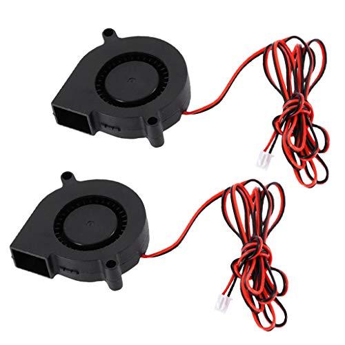 IPOTCH 2PCS 5015 DC 12V Ventilador Silencioso Sin Escobillas Ventilador de Enfriamiento Radial Sin Escobillas Ventiladores de 5CM